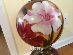 Vintage Hurricane Lamp 24 Red Pink Flowers Hand Painted Gone With The Wind BoHo