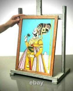 Vintage Indian Reverse Glass Painting, Large. Emperor Shah Jahan With Rose