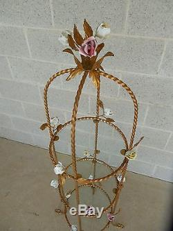 Vintage Italian Gilt Hand Painted Rose Petal Accented Etagere 55H