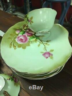 Vintage Lefton China Heritage Green Pink Roses Tea Set Hand Painted 19 Pieces
