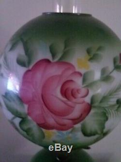 Vintage Mid Century Gone With the Wind Hurricane Lamp, Hand Painted Roses