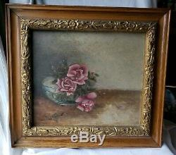 Vintage Oil Painting Artist Signed Roses Gold Wooden Frame Antique Collectable