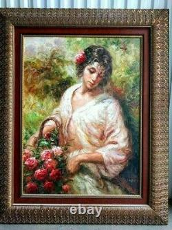 Vintage Oil on canvas painting, Disheveled girl with roses, signed DENBER