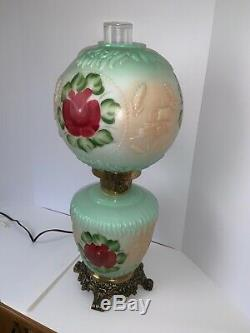 Vintage Painted Roses Parlor Hurricane Table Lamp Mint Green Burgundy GWTW