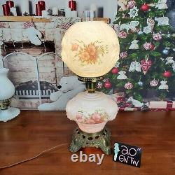 Vintage Phoenix GWTW Gone With The Wind Wild Rose Hurricane Lamp White Pink 20