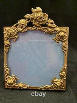 Vintage Picture Frame With Puffy Roses 5 X 6 1/4