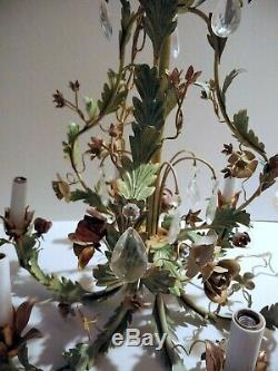 Vintage Tole Painted Pink Roses White White Metal Chandelier Teardrop crystals