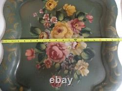 Vintage Tole Tray Hand Painted Floral Roses USA Sticker Green Sage Gold 25 HTF