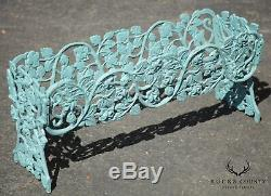 Vintage Turquoise Painted Wrought Iron Rose Vine Planters