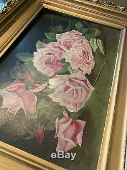 Vintage antique Roses Oil Painting