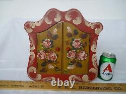 Vintage, gypsy caravan cabinet, wooden, romany, hand-painted roses, tiny, shabby chic