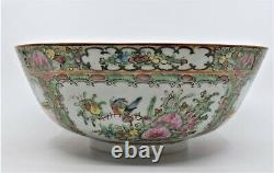 Vintage large Chinese Porcelain Bowl Hand Painted Flowers Famillie Rose