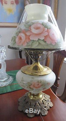Vintage pink roses hand painted and signed gone with the wind table lamp