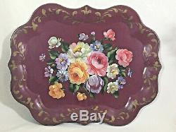 Vintage tole painted tray maroon hand painted floral roses 25 x 20 charming