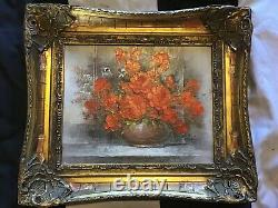 Vintage very ornate gilt framed original signed oil painting on canvas Red Roses