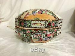 Vtg Chinese Hand Painted Famille Rose Octagon Shaped Large Covered Bowl
