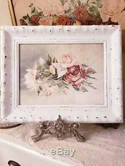 WOW Antique ROSES PAINTING Framed Watercolor Vintage Signed F. HODGES 20.5x16.5