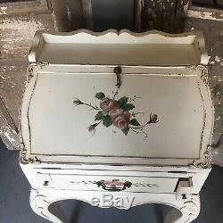 White Wood Drop Front Hand Painted Desk Ladies Childs Roses Ornate Victorian