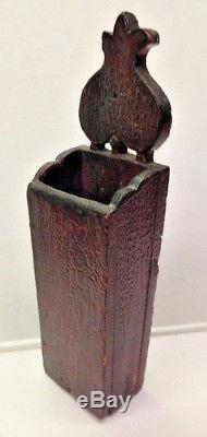 Wood Wall Hanging Tulip Candle Box Pantry Box Old Red Paint & Rose Head Nails