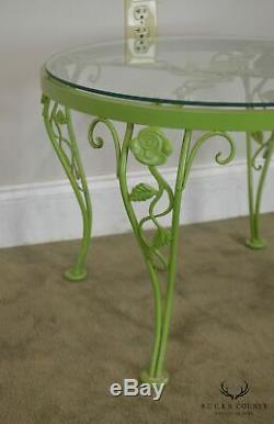 Woodard Chantilly Rose Garden Vintage Green Painted Iron Round Patio Side Table